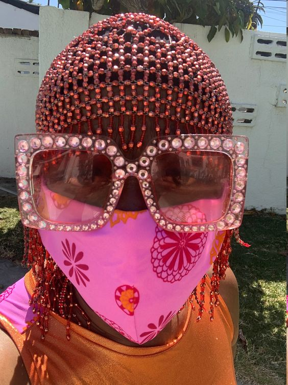 Poppin pink face cover